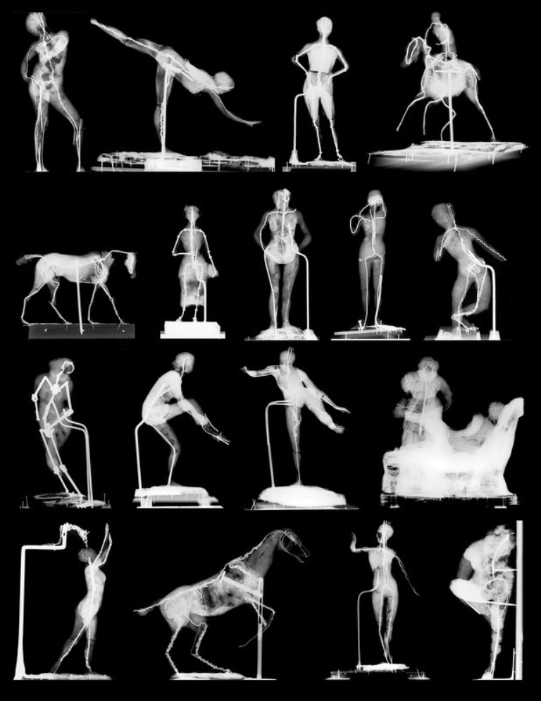 Selected radiographs of Edgar Degas' wax sculptures at the National Gallery of Art, Washington, revealing a variety of armatures