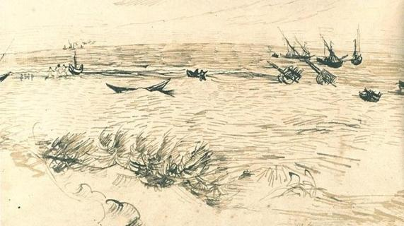 Vincent van Gogh. Beach, Sea, and Fishing Boats 1888