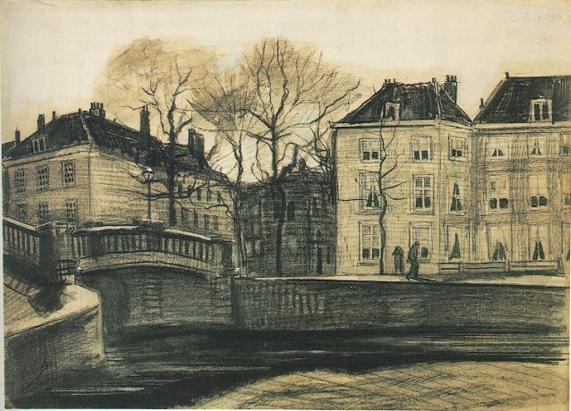 Vincent van Gogh. Bridge and Houses on the Corner of Herengracht-Prinsessegracht, The Hague 1882