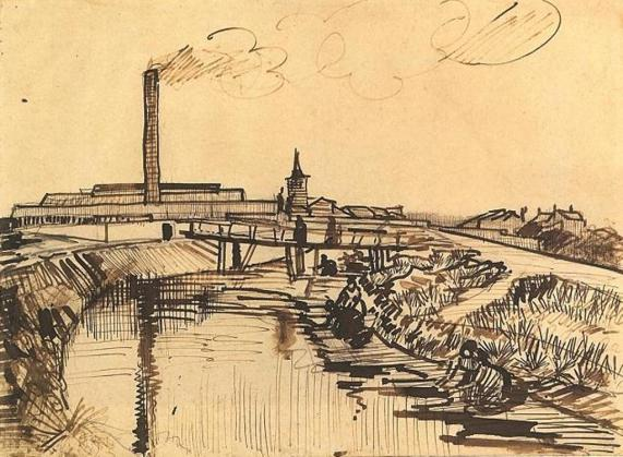 Vincent van Gogh. Canal with Bridge and Women Washing, Arles 1888