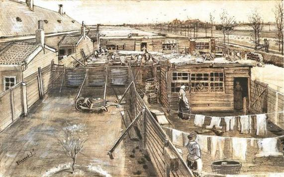 Vincent van Gogh. Carpenter's Yard and Laundry 1882