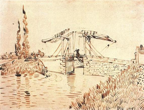 Vincent van Gogh. Drawbridge with Lady with Parasol 1888