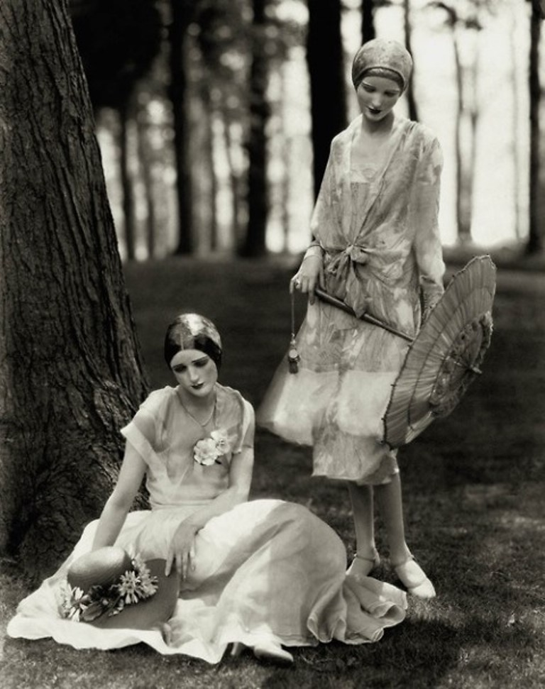 Vogue models Marion Morehouse and Helen Lyons pose for Edward Steichen in chiffon dresses, 1926