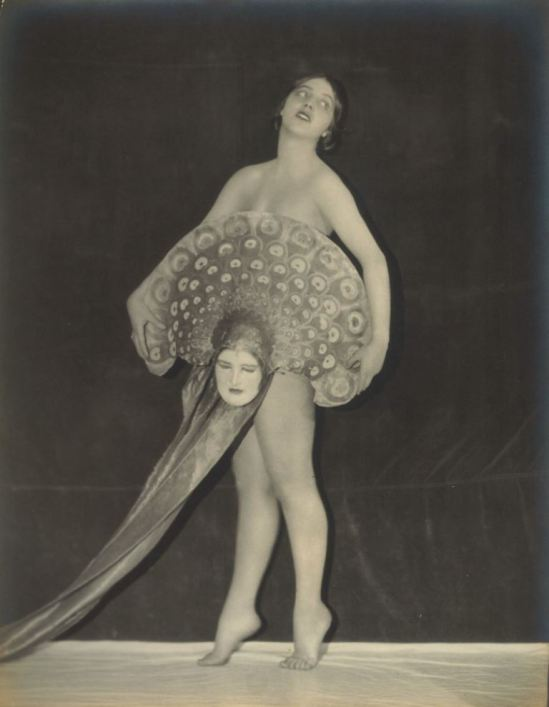 1920 EDWIN BOWER HESSER DECO NUDE SHOWGIRL VIRGINIA BELL WITH MASK FAN Via ebay