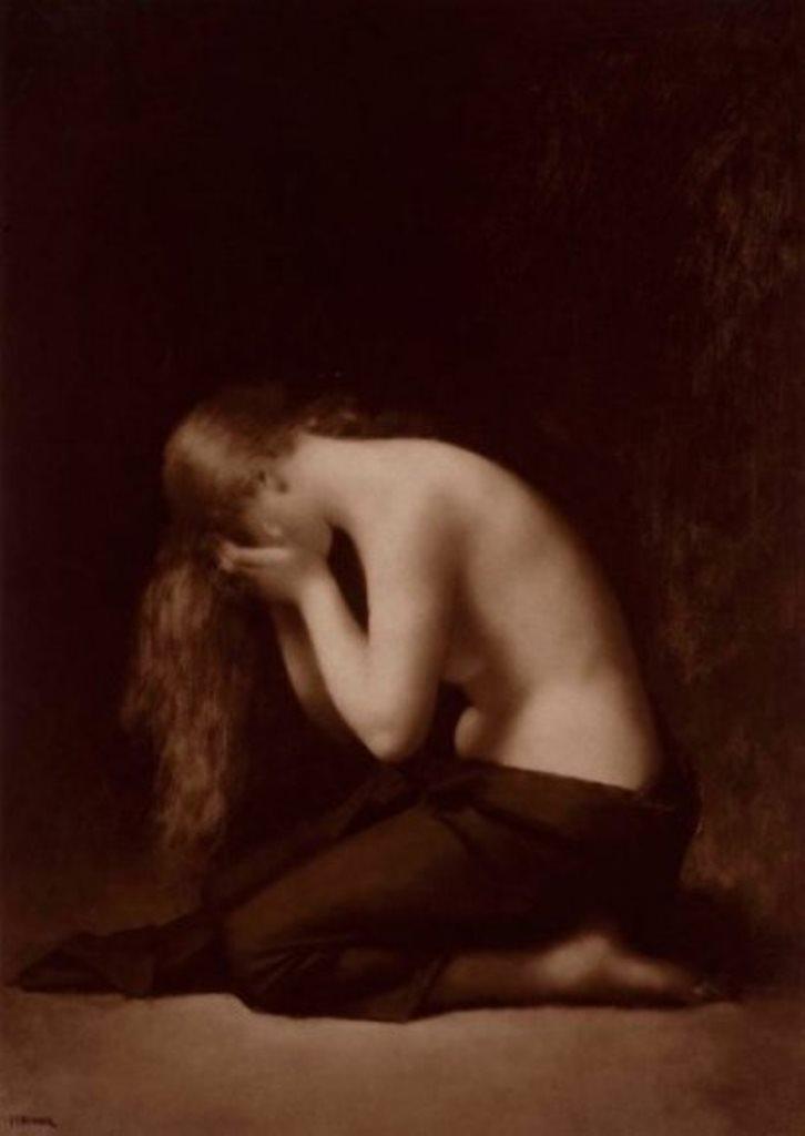 Adolphe Braun. « Solitude », peinture de Jean-Jacques Henner, vers 1880 Épreuve d'époque au charbon montée sur support cartonné Via Drouot