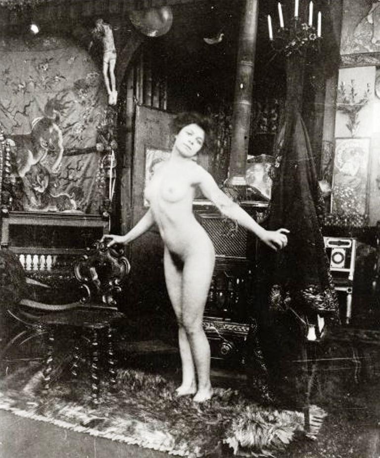 Alphonse Marie Mucha. Ballet study, model dancing nude in Mucha's studio rue du Val de Grâce 1901 Via muchafoundation