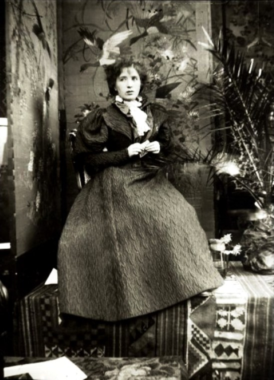 Alphonse Marie Mucha.  Berthe de Lalande, Mucha's mistress, in Mucha's studio, Rue du Val de Grâce, Paris 1896 Via muchafoundation