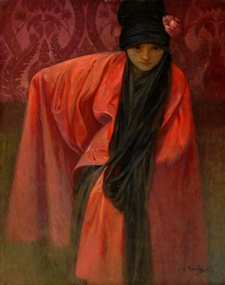 Alphonse Marie Mucha. Girl in red. Huile sur toile