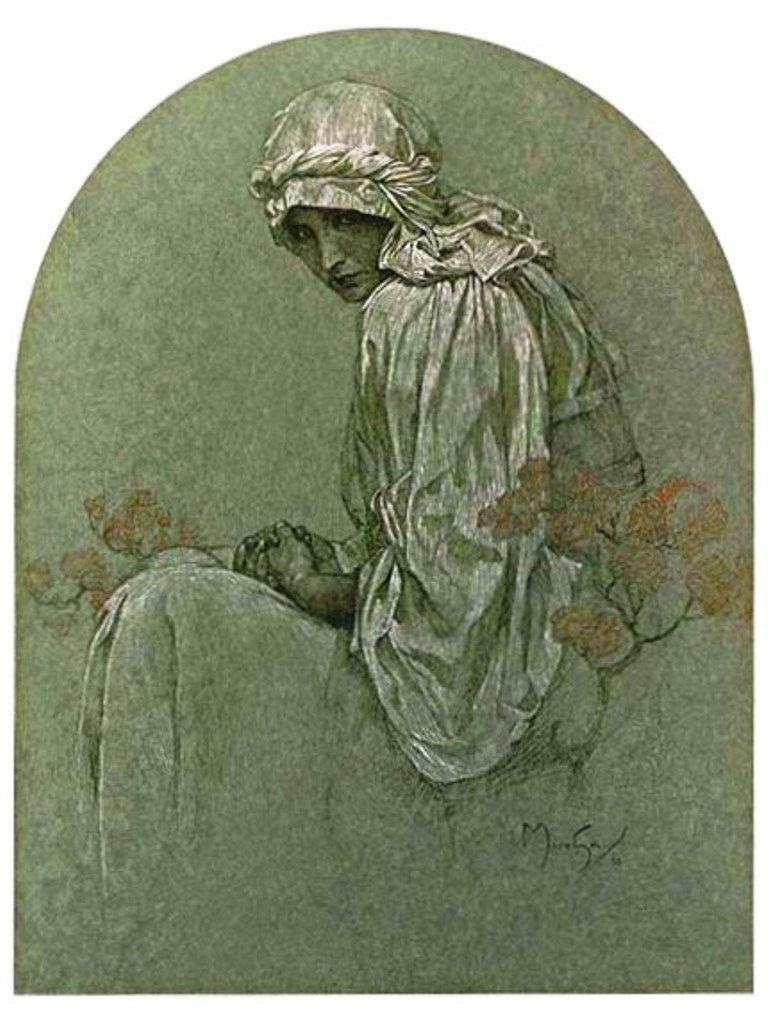 Alphonse Marie Mucha. Jeune fille aux rhododendrons Via mutualart