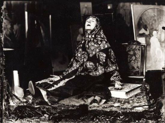 Alphonse Marie Mucha. Maruska posing as russian peasant woman for Woman in the wilderness 1923 Via muchafoundation