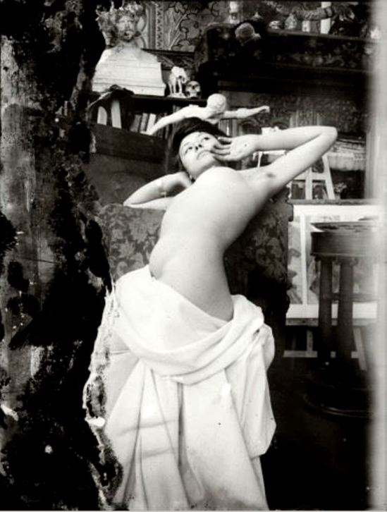 Alphonse Marie Mucha. Model posing in Mucha's studio rue du Val de Grâce 1902-1903 Via muchafoundation