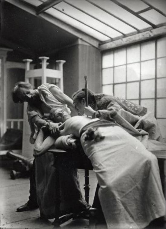 Alphonse Marie Mucha. Models posing as struggling figures for The introduction of the slavonic liturgy 1911-1912 Via muchafoundation