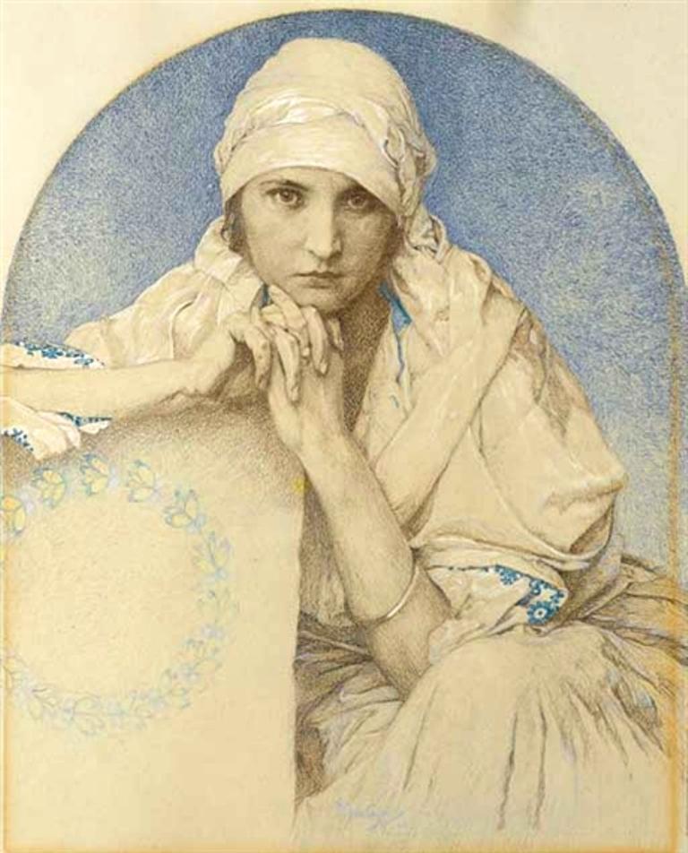 Alphonse Marie Mucha. Portrait of Jaroslava (Jarca), Mucha's daughter Via mutualart