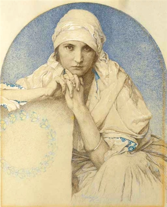 Alphonse Marie Mucha. Portrait of Jaroslava (Jarca), Mucha's daughter Via mutualart