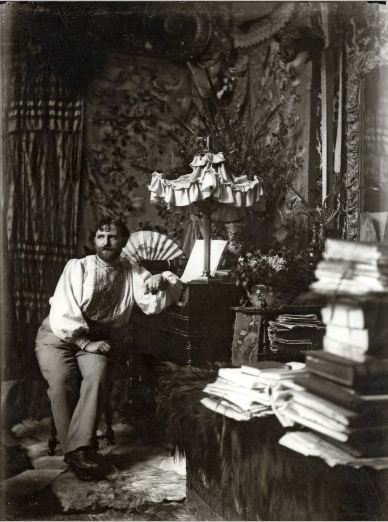 Alphonse Marie Mucha. Self-portrait in his studio, Rue de la Grande Chaumière 1892 Via muchafoundation