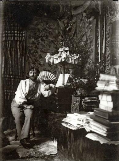 Alphonse Marie Mucha. Self-portrait in his studio, Rue de la Grande Chaumière 1892 Via muchafoundation