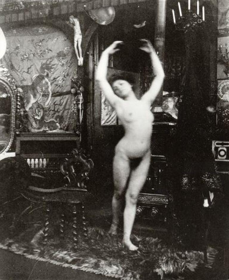 Alphonse Marie Mucha2. Ballet study, model dancing nude in Mucha's studio rue du Val de Grâce 1901 Via muchafoundation