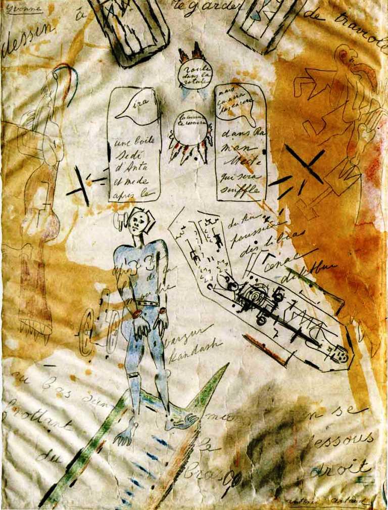 Antonin Artaud. La machine de l'être ou dessin à regarder de traviole 1946 Via revuetextimage