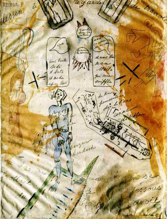 Antonin Artaud. La machine de l'être ou dessin à regarder de traviole 1946 Via revuetextimage