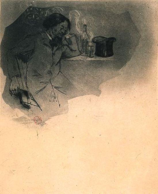 Armand Rassenfosse. Illustration pour le Vin du solitaire, poème extrait des Fleurs du mal de Charles Baudelaire. Estampe  1899