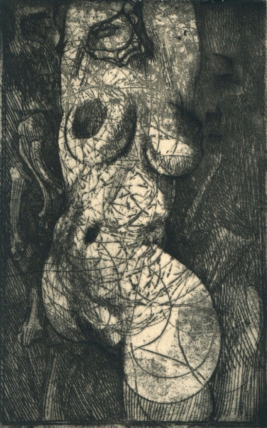 Ernst Fuchs. Deadly vows 1968. Encre