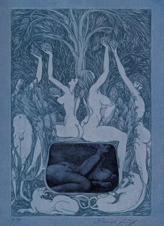 Ernst Fuchs. In the sheets of the night 1966