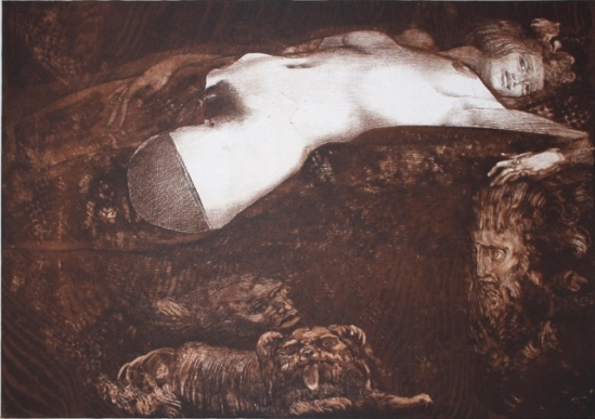Ernst Fuchs. Salomé 1991. Color etching and aquatint