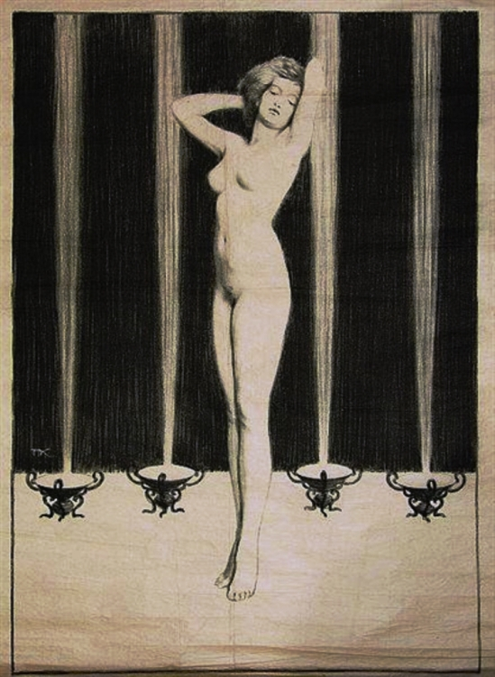 Frantisek Kobliha. Female nude with four lights