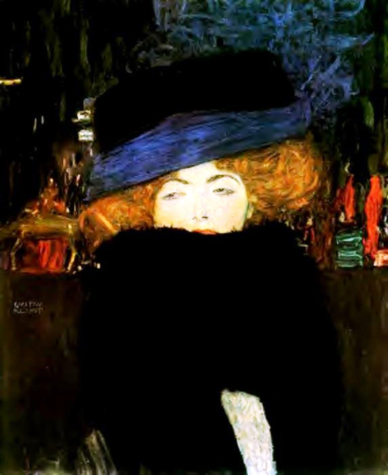 Gustav Klimt. 1909 Lady with Hat and Feather Boa