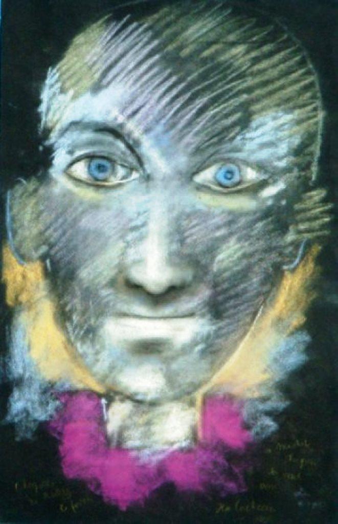 Jean Cocteau. Arlequin sur fond noir 1955 Pastel Via drouot