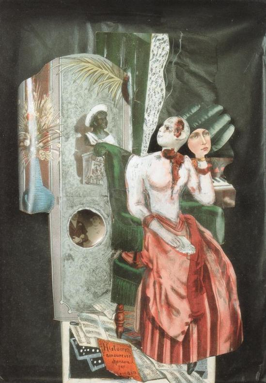 Jean Cocteau. Sans titre (histoire amoureuse) 1926. Collage, technique mixte sur papier, tête sculptée. Scan personnel du catalogue Exposition Cocteau, Centre Pompidou 2004