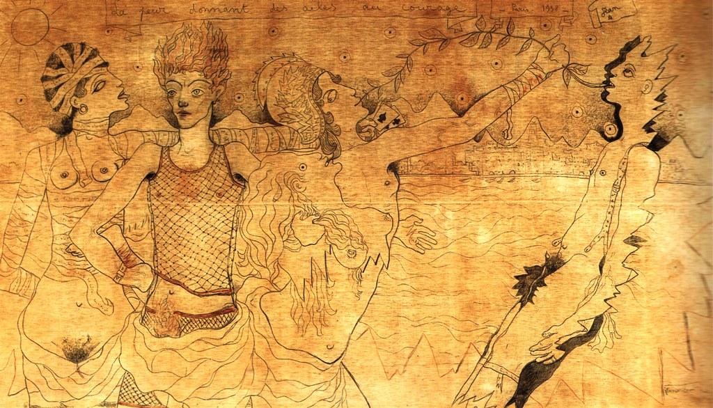 Jean Cocteau. La peur donnant des ailes au courage 1938. Dessin sur drap dessiné, graphite, craie noire et crayon sur coton. Scan personnel du catalogue Exposition Cocteau, Centre Pompidou 2004
