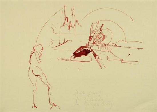 Joseph Beuys. Untitled - Geysir, Nymphe und blutender Riesenhirsch 1974