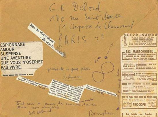 Leo Dohmen. Collage sur une lettre adresssée à Debord