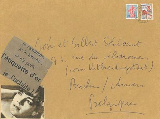 Leo Dohmen. Collage sur une lettre adresssée à Sénécaut