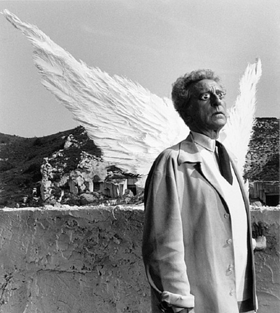 Lucien Clergue. Jean Cocteau as The Poet and the Sphinx, Testament of Orpheus, Les Baux de Provence  Via artnet
