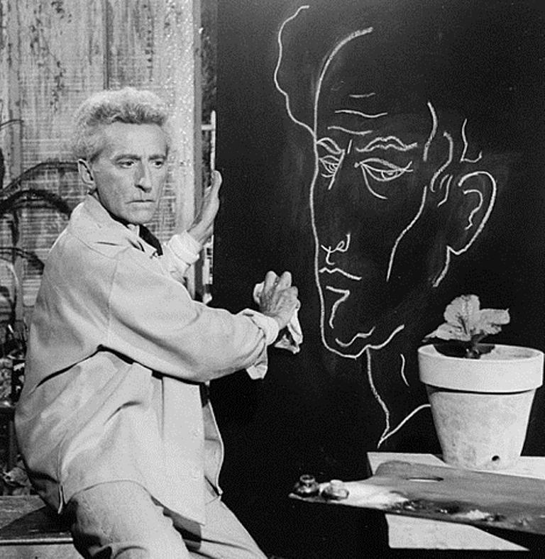 Lucien Clergue. Jean Cocteau et son autoportrait 1959 Via artnet