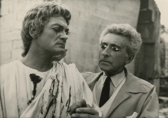 Lucien Clergue. Jean Marais with Jean Cocteau on the set of Testament d'Orphée 1959  Via theredlist