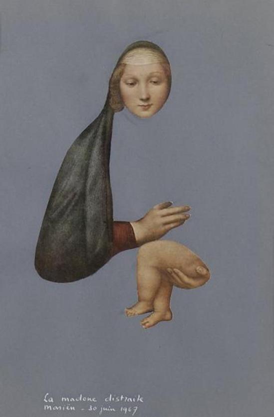 Marcel Marien. La Madonne distraite 1967. Collage Via drouot