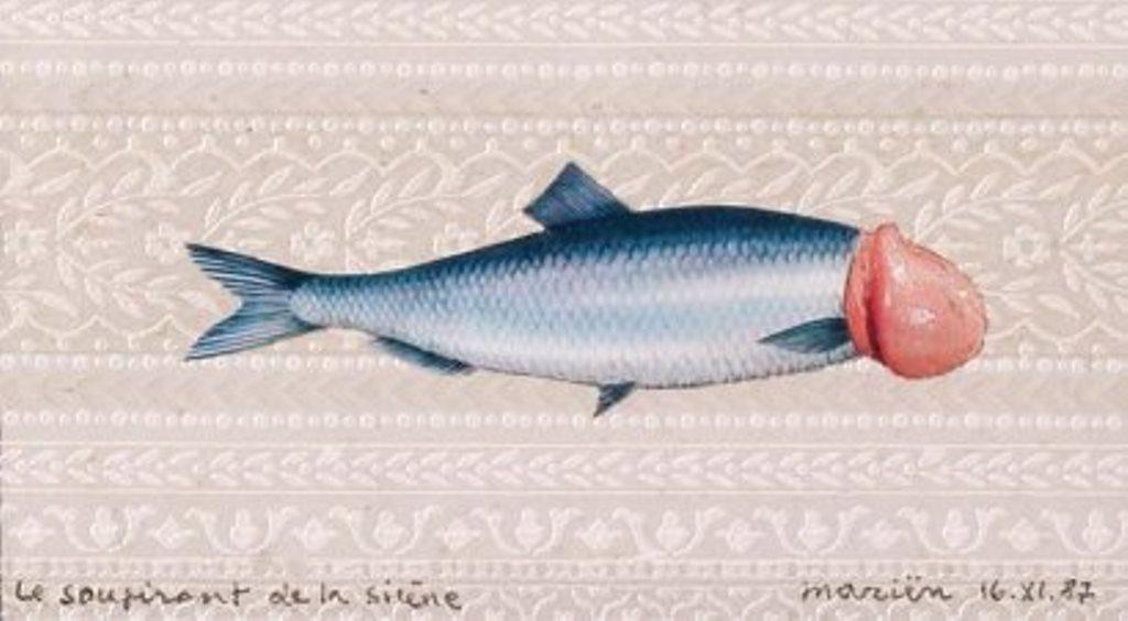 Marcel Marien. Le soupirant de la sirène collage sur papier peint 1981 Via drouot