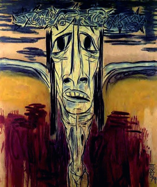 Marcus Reichert. Crucifixion 1991. Oil and charcoal on linen 188 cm x 157.5 cm