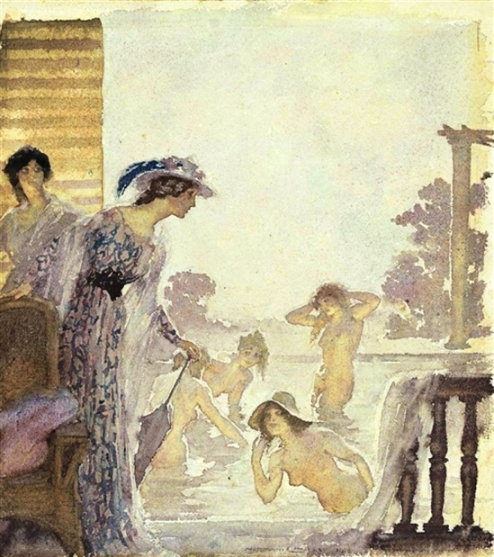 Norman Lindsay. A bathing afternoon 1920