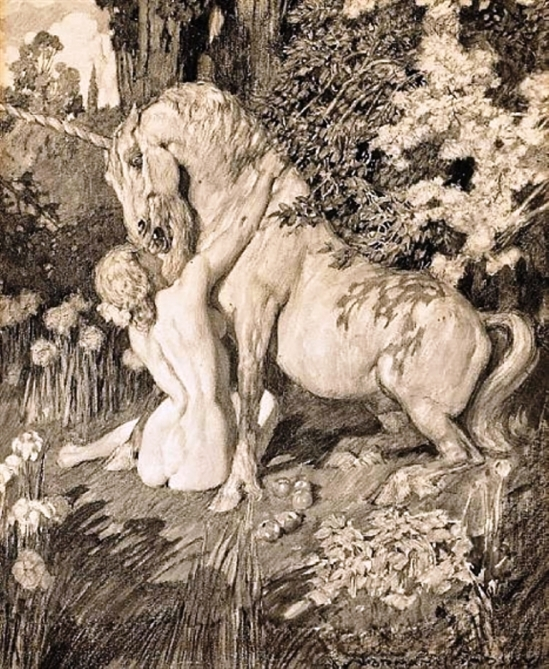Norman Lindsay. A woman with a unicorn in a forest interior