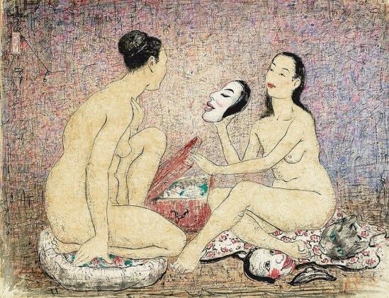Pan Yuliang. Nudes and masks 1956