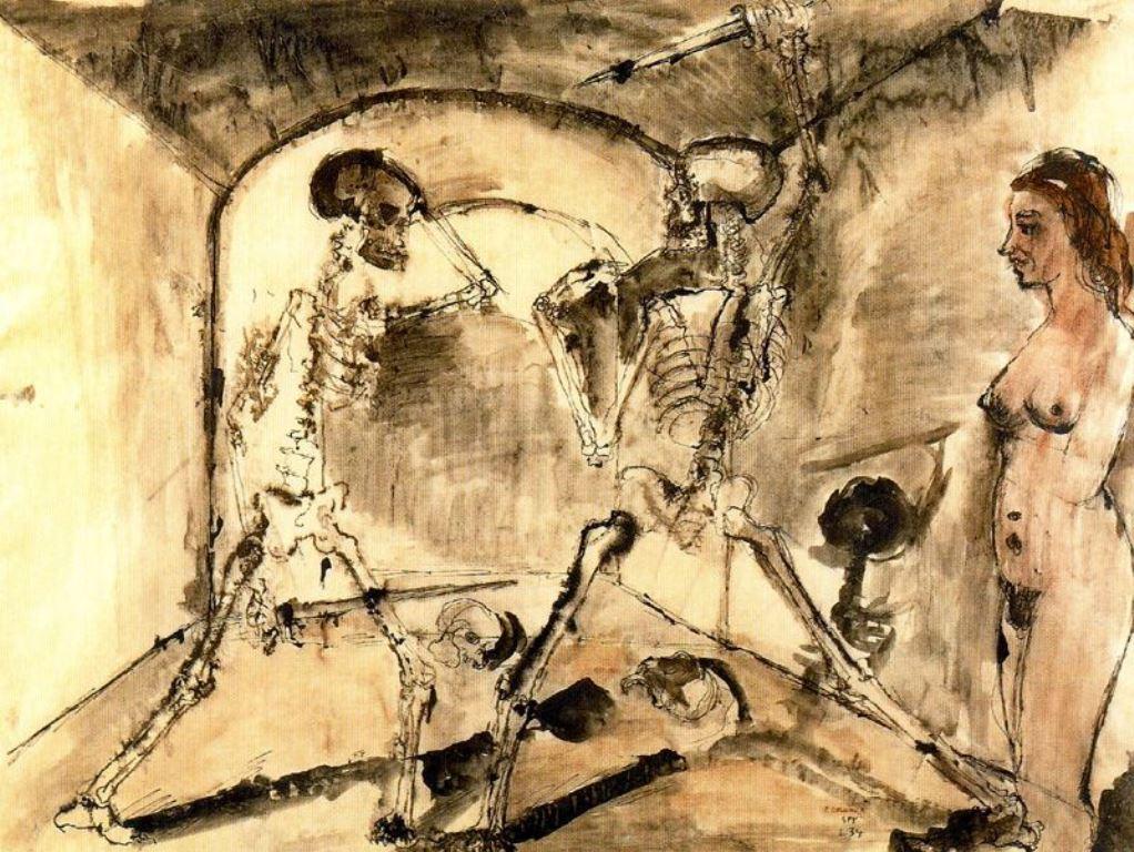 Paul Delvaux. Le duel des squelettes. Gravure