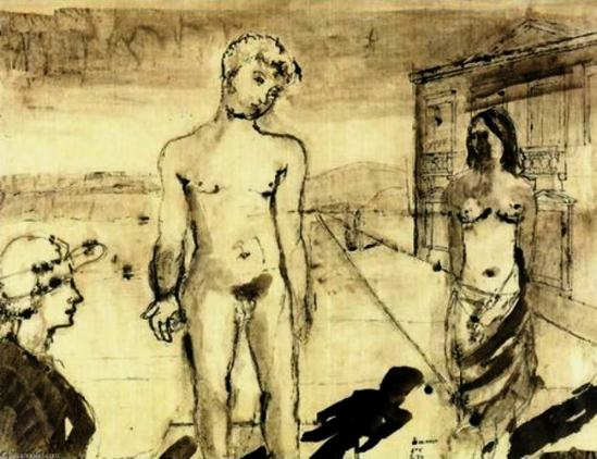 Paul Delvaux. The meeting. Dessin