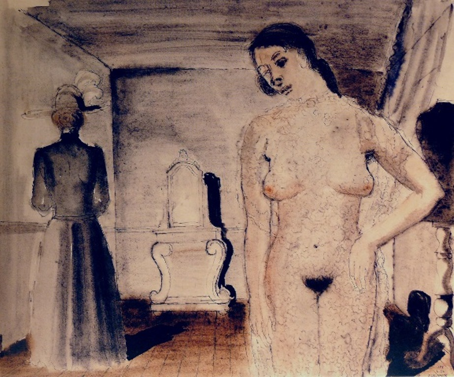 Paul Delvaux. Woman with lace