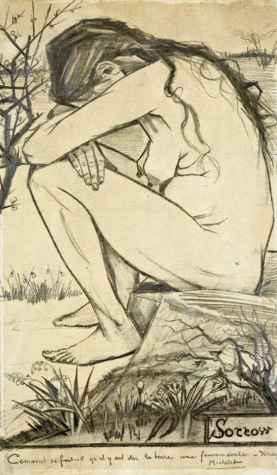 Vincent van Gogh. 1882 Sorrow black chalk