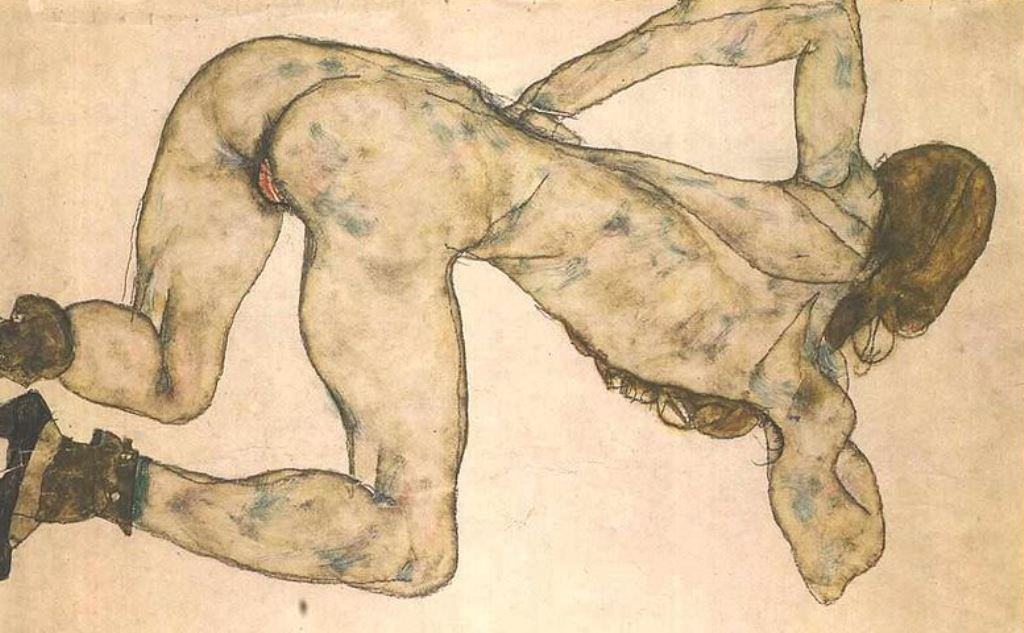 Egon Schiele. Bended female nude