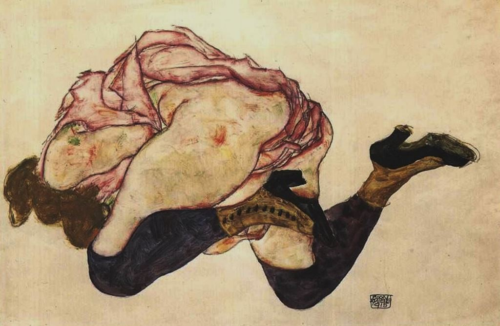 Egon Schiele. Kneeling wife with bended head 1915